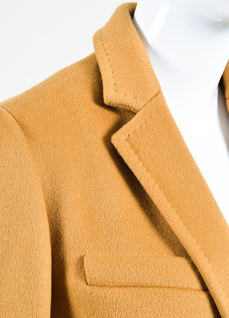 "Camel Tan Isabel Marant Wool and Cashmere ""Carlen Caban"" Coat Detail"