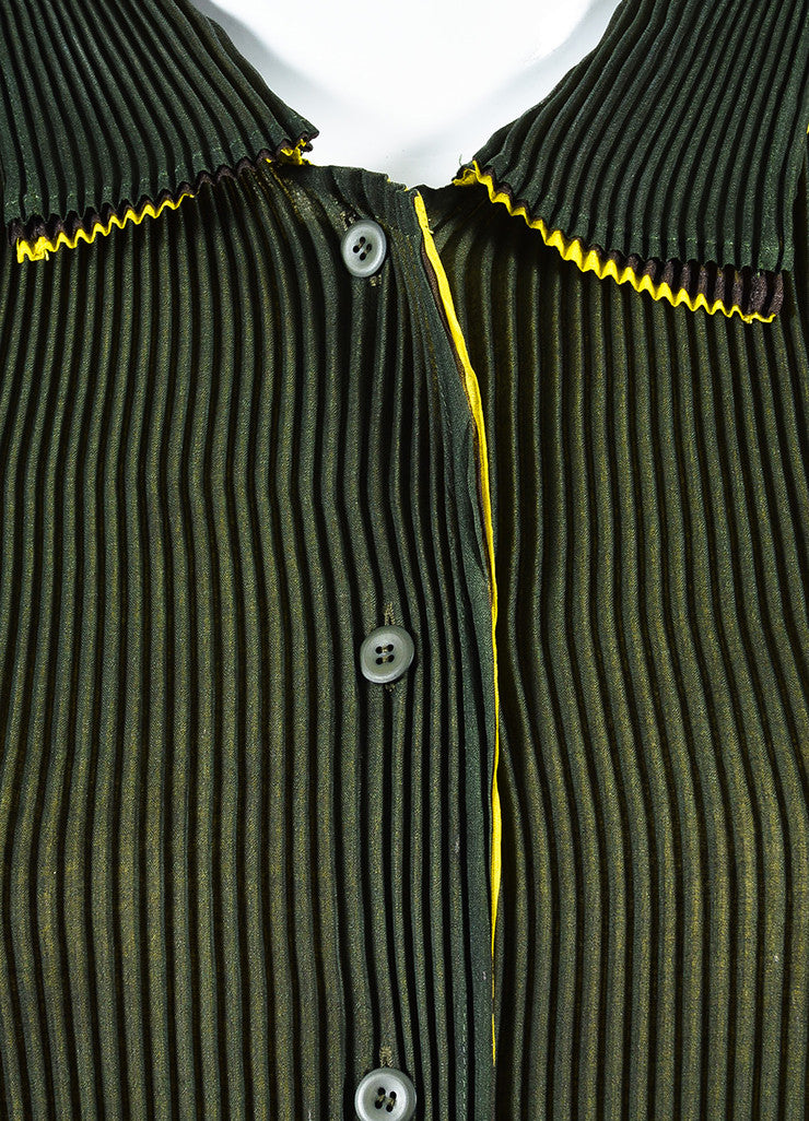 Issey Miyake Olive Green Stretch Pleated Color Block Long Duster Jacket Detail