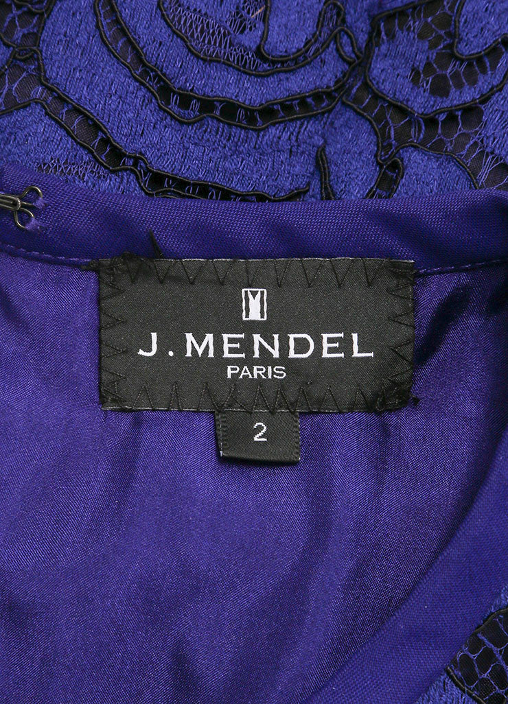J. Mendel New With Tags Blue and Black Lace Embroidery Sleeveless Peplum Blouse Brand