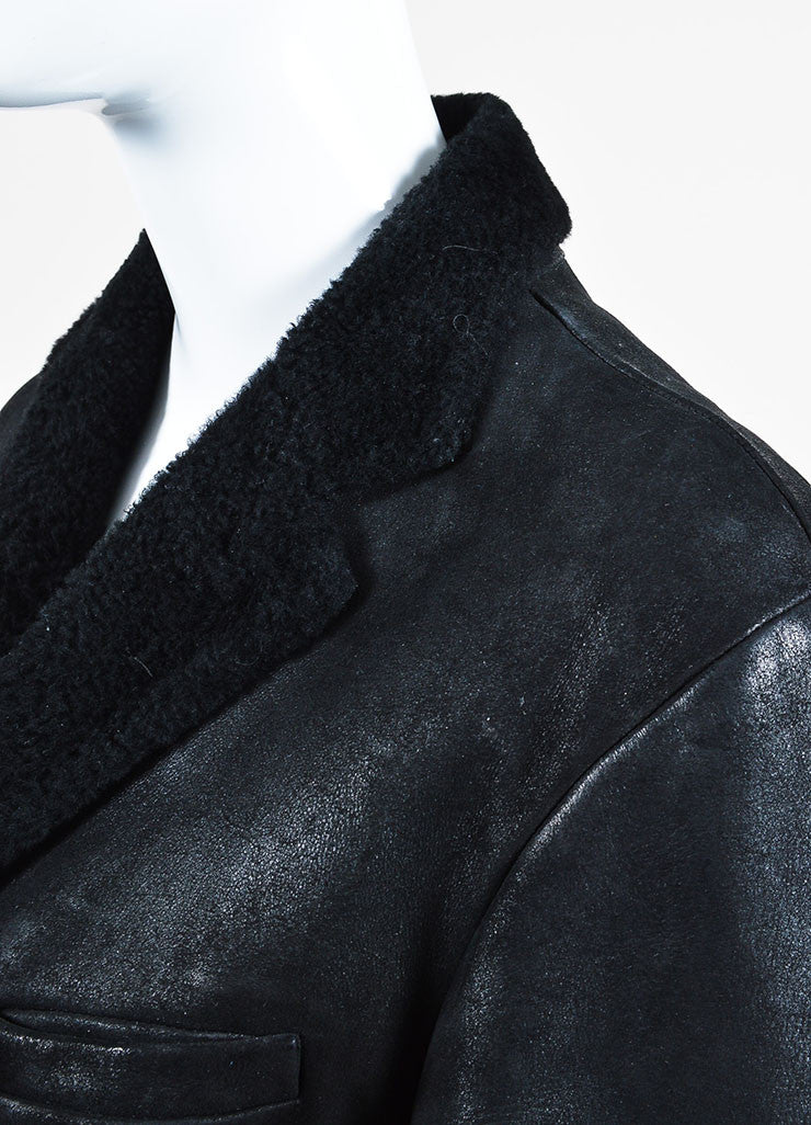 ‰ۢÌöÌÛJil Sander Black Coated Leather Shearling Lined Coat Detail