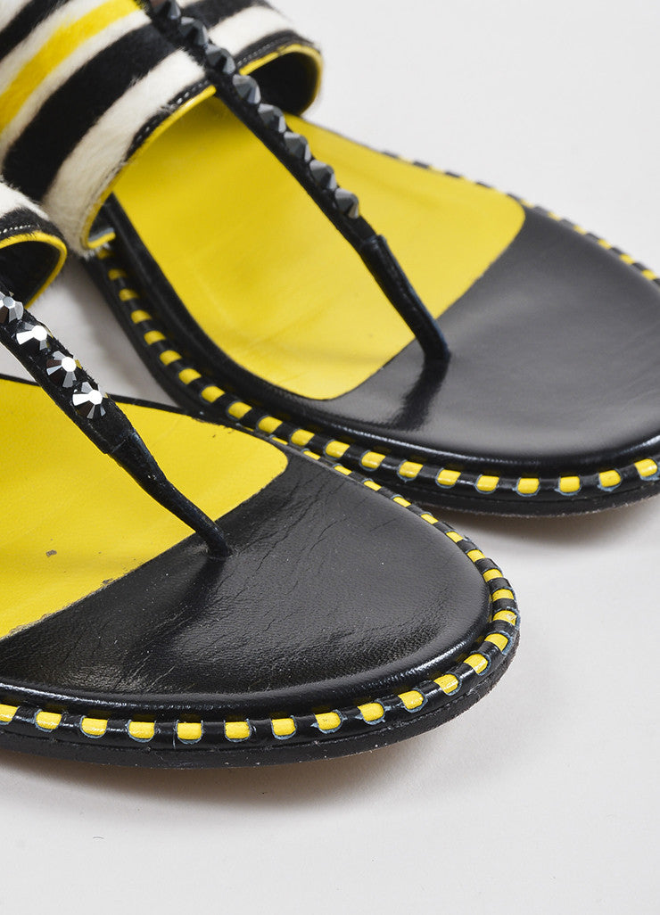 Black and Yellow Jimmy Choo Pony Hair Striped Studded Flat Sandals Detail