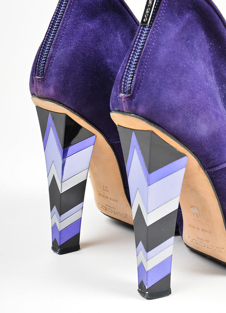 Purple Jimmy Choo Suede Knot Bow Mosaic Mirrored Heel Ankle Booties Detail