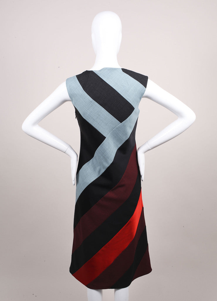 "Jonathan Saunders New With Tags Blue, Grey, and Multicolor Paneled ""Poppy"" Dress Backview"