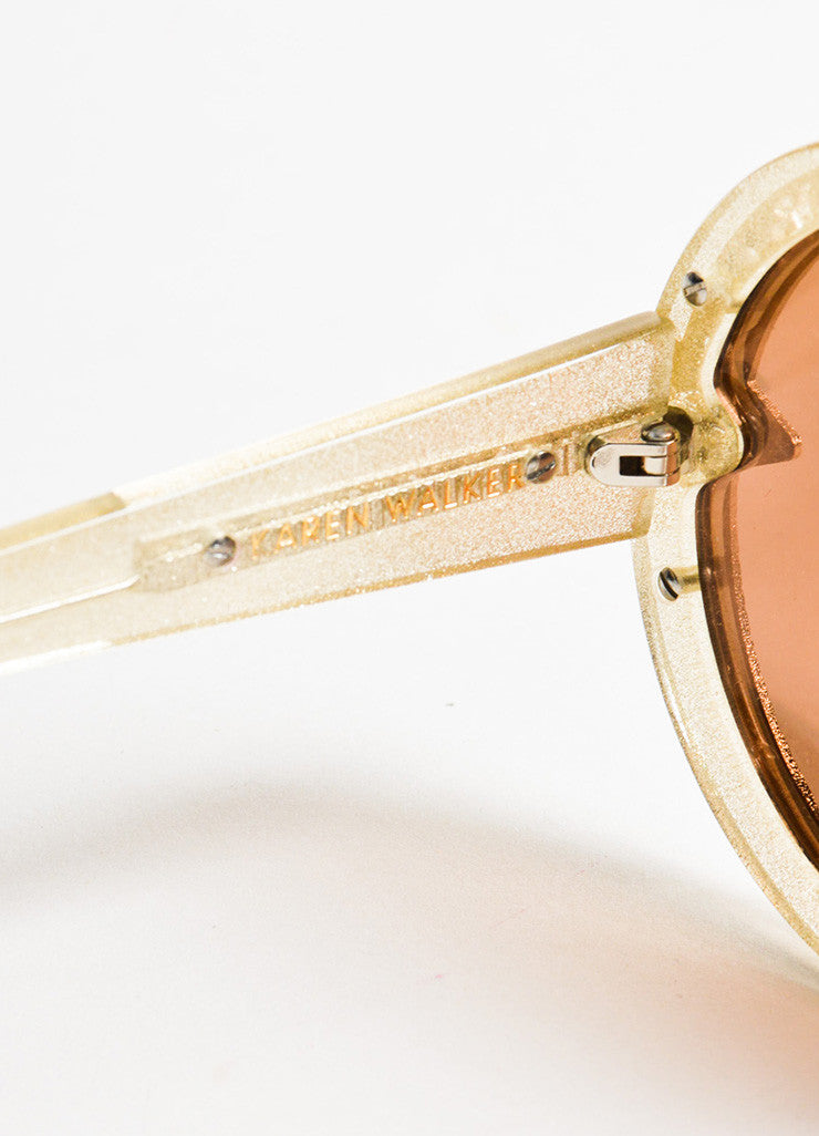"Karen Walker Gold Glitter Mirrored Lens Round ""Orbit Filigree"" Sunglasses Brand"