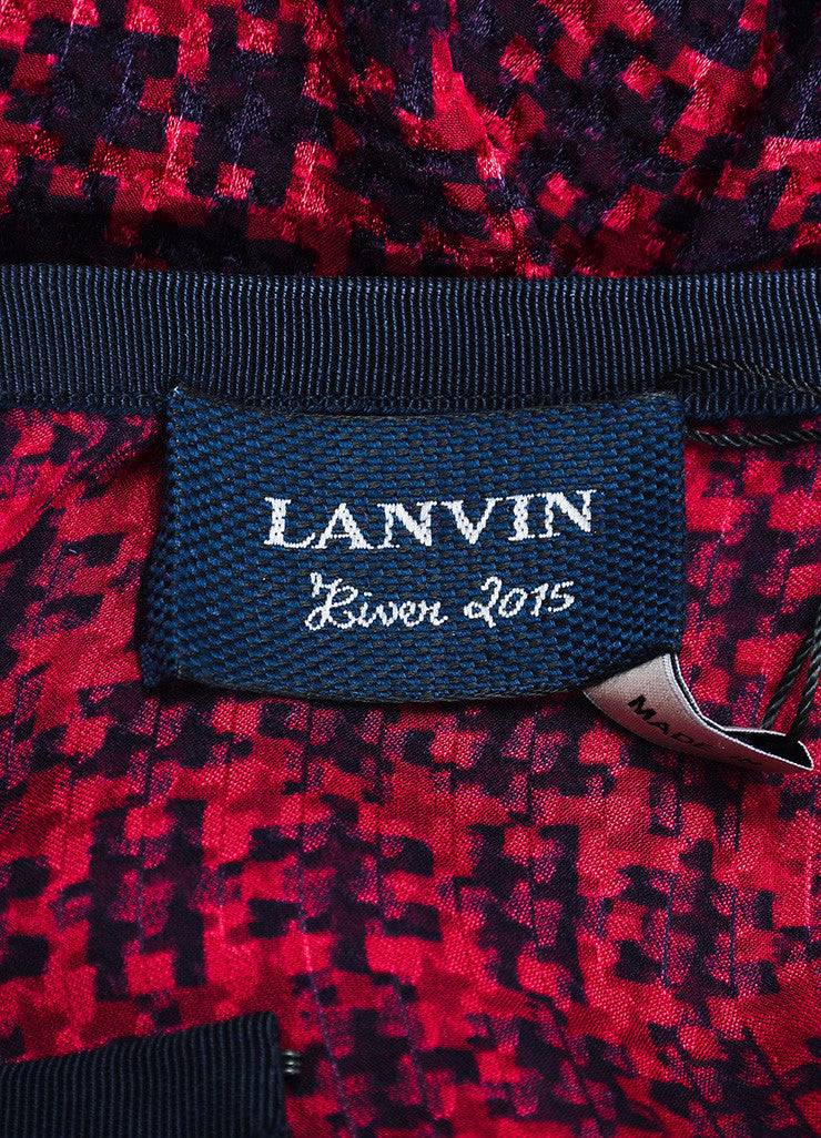 Red and Navy Lanvin Silk Grosgrain Ribbon Houndstooth Long Sleeve Sheer Top Brand