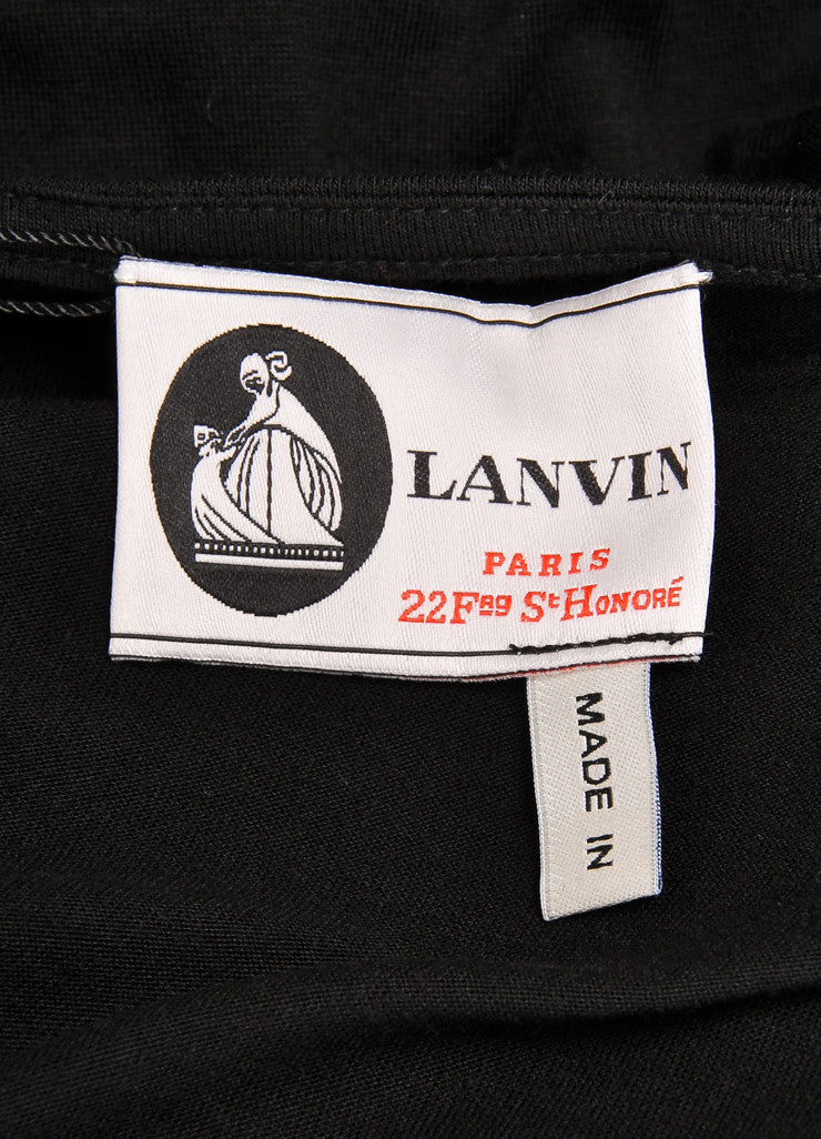 Lanvin New With Tags Black and Silver Metallic Trim Sleeveless Knit Jersey Dress Brand