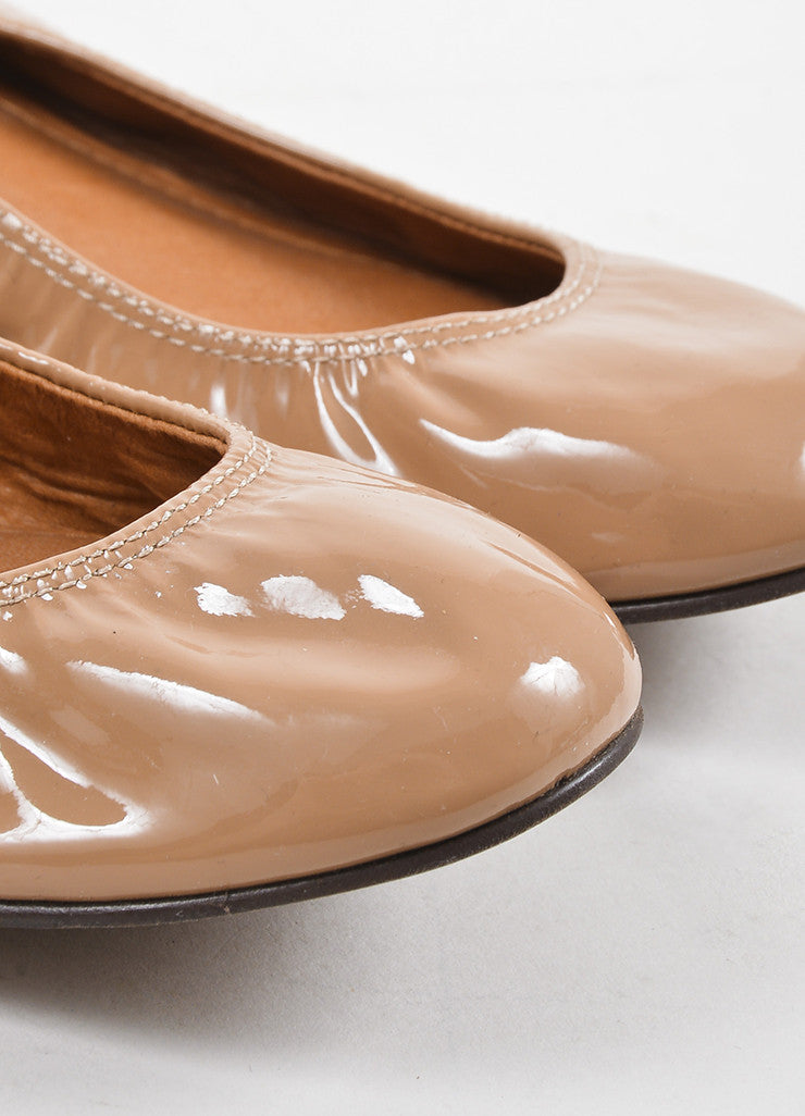 Lanvin Nude Patent Leather Elastic Ballerina Flats Detail