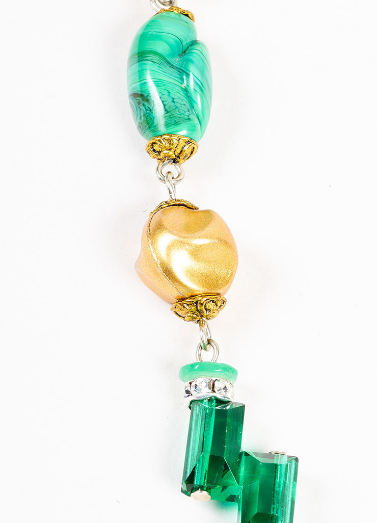 Lawrence Vrba Green and Gold Toned Stone Beaded Crystal Art Deco Pendant Necklace Detail 2
