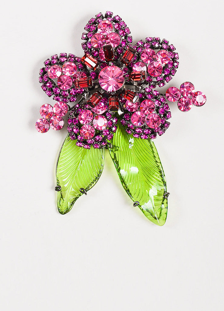 Lawrence VRBA Green and Pink Beaded Crystal Flower Pendant Necklace Earrings Set Pendant