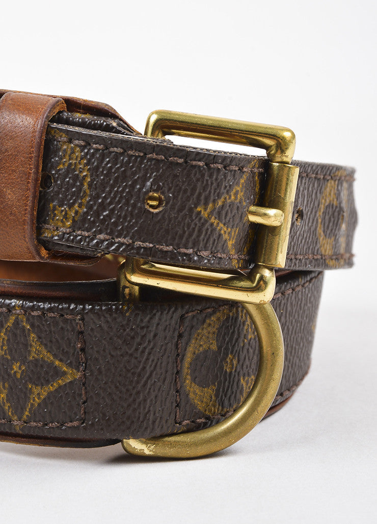 "Louis Vuitton Brown Leather Trim Monogram ""Baxter Dog Collar GM"" detail"