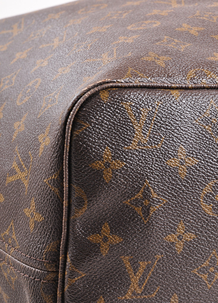 "Louis Vuitton Brown Monogram Canvas ""Neverfull GM"" Shoulder Tote Bag Detail"