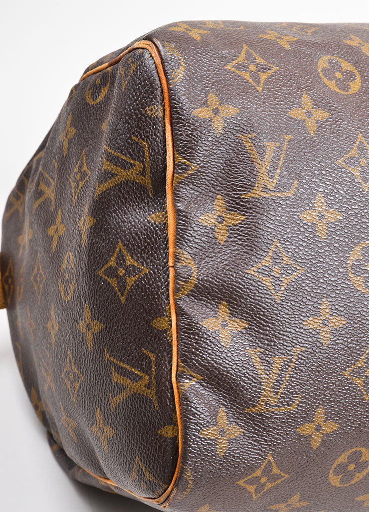 "Brown Louis Vuitton Monogram Canvas ""Speedy 30"" Handbag Detail"