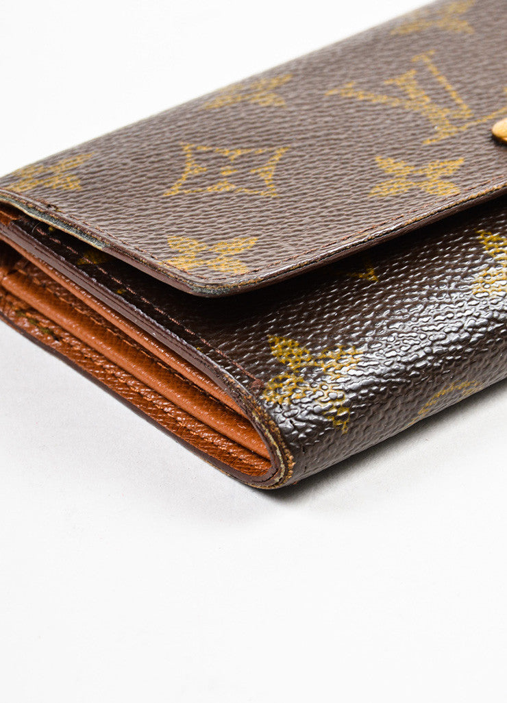 "Louis Vuitton Brown and Tan Coated Canvas Monogram ""Porte-Monnaie Tresor"" Wallet Detail"