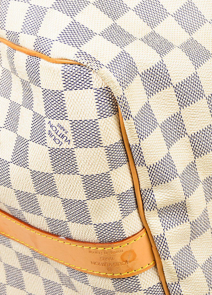 "Louis Vuitton Cream Navy Damier Canvas ""Keepall Bandouliere 55"" Bag Detail 2"