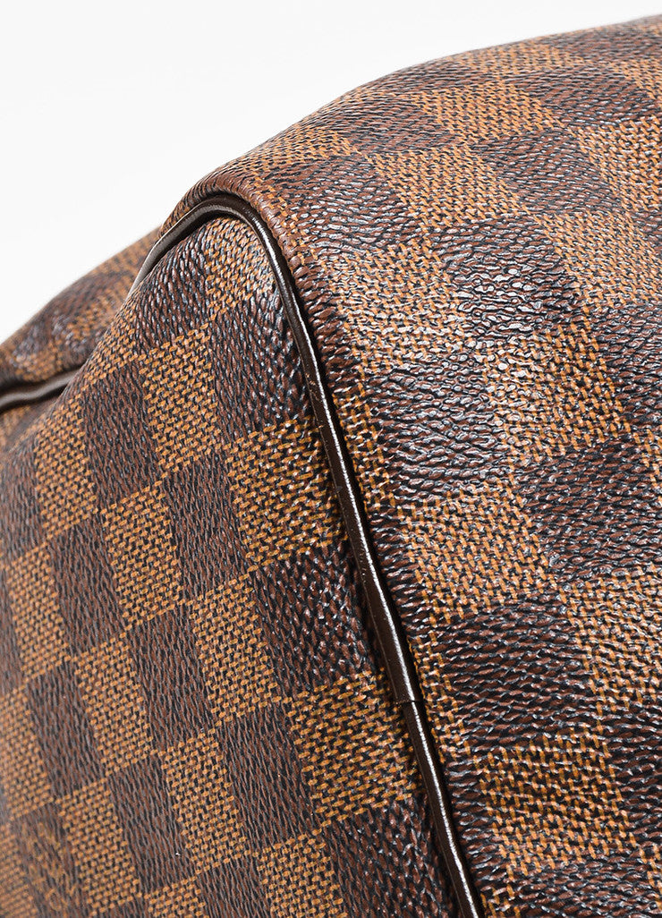 "Louis Vuitton Damier Ebene Brown Coated Canvas Leather Checkered ""Speedy 25"" Bag Detail"