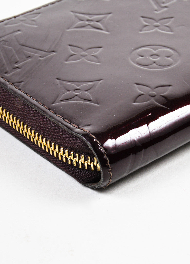 "Louis Vuitton Eggplant ""Amarante"" Patent Leather Monogram ""Vernis Zippy"" Wallet Detail"