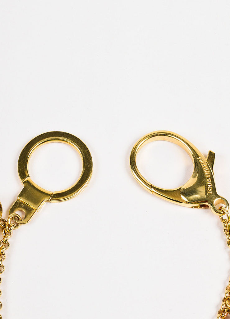 "Louis Vuitton Gold Toned Enamel Monogram ""Chaine Grelots"" Ball Charm Key Chain Detail"