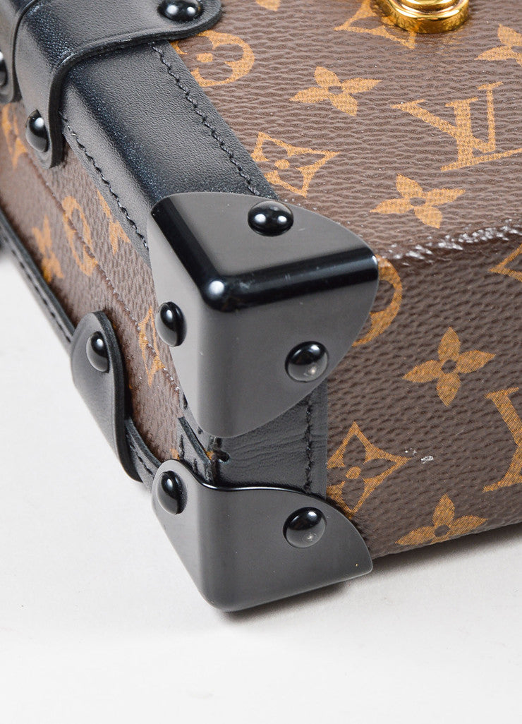 "Louis Vuitton Limited Edition Brown and Black Canvas ""Petite Malle"" Mini Trunk Bag Detail"