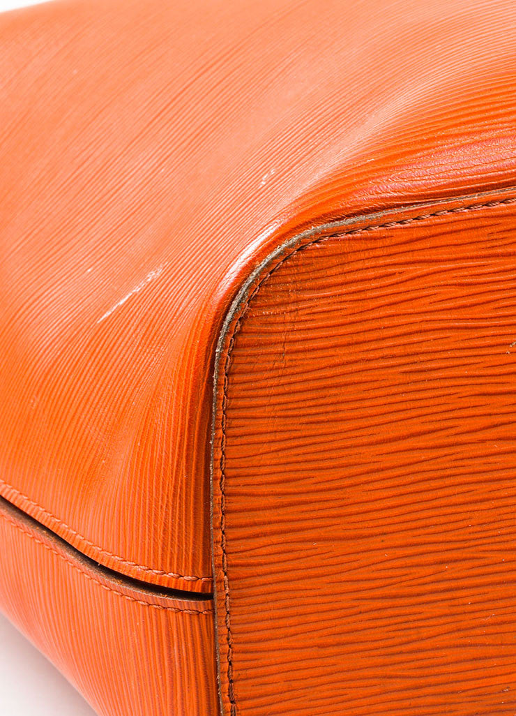 "Louis Vuitton Orange Epi Leather ""Neverfull MM"" Tote Bag Detail"