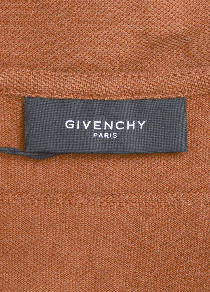 Men's Givenchy Brown and Cream Cotton Waffle Textured Basketball Long Sleeve Top Brand