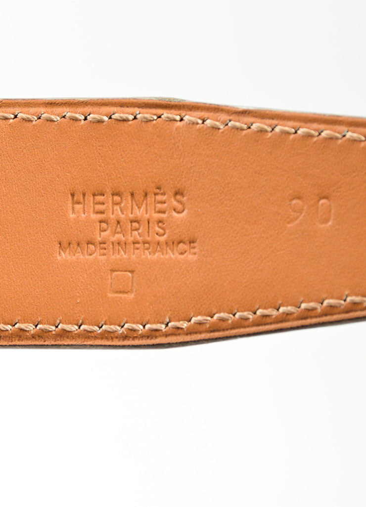 "Men's Gold Toned 'H' Prong Buckle and Blue Alligator Hermes ""Constance"" Belt Brand"