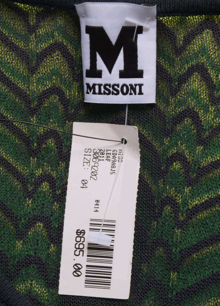 M Missoni New With Tags Green, Yellow, and Brown Knit Woven Chevron Print Mesh Dress Brand