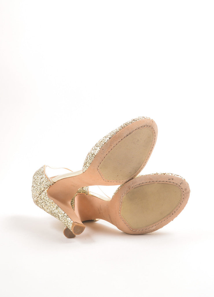 Marc Jacobs Metallic Gold Glitter Mary Jane Pumps Outsoles