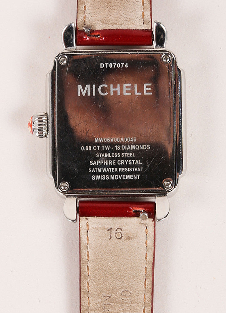 Michele Deco Silver Tone Red Cream Stainless Steel Diamond Interchangeable Watch Detail