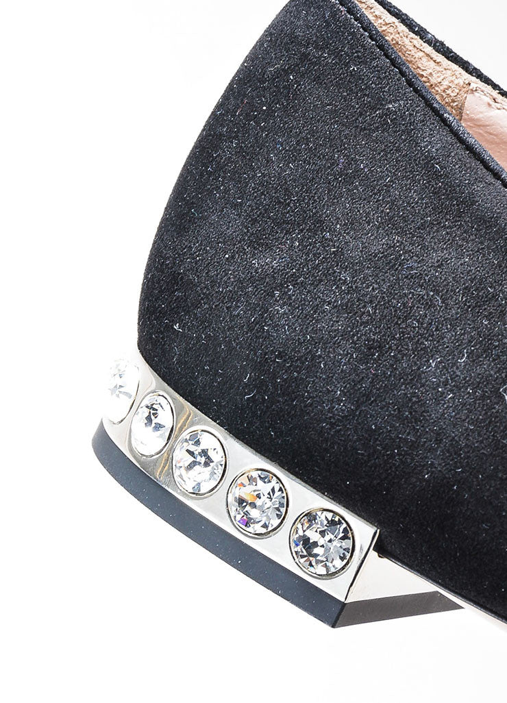 Black Miu Miu Suede Crystal Embellished Point Toe Flats Detail