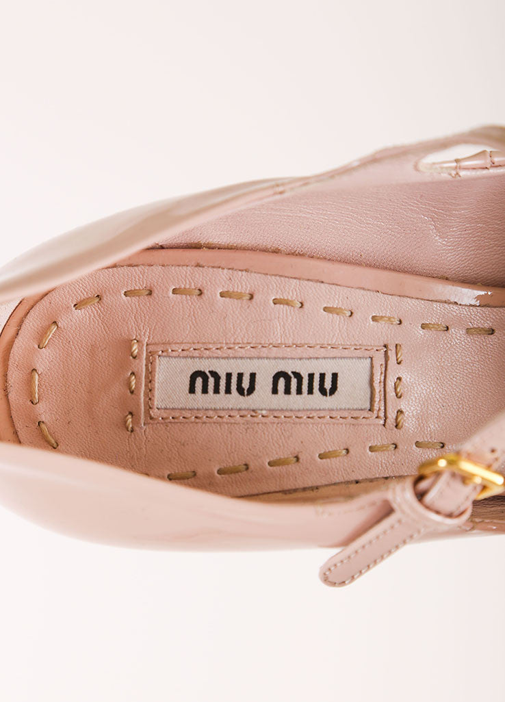 Miu Miu Nude Patent Leather Platform Mary Jane Heels Brand