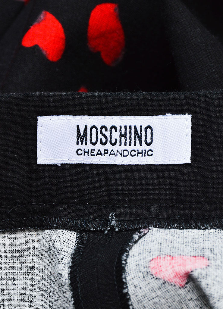 Black and Red Moschino Cheap and Chic Heart Print Cotton Wide Leg Pants Brand