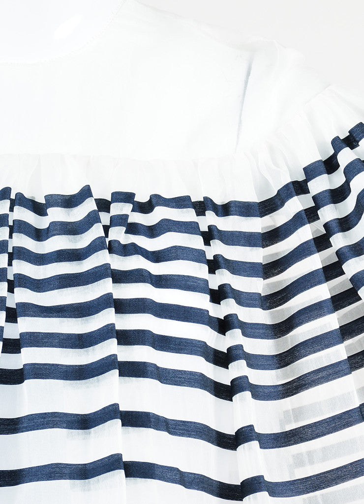 Ms Min White and Navy Silk Organza Striped Tiered Ruffle Short Sleeve Dress Detail