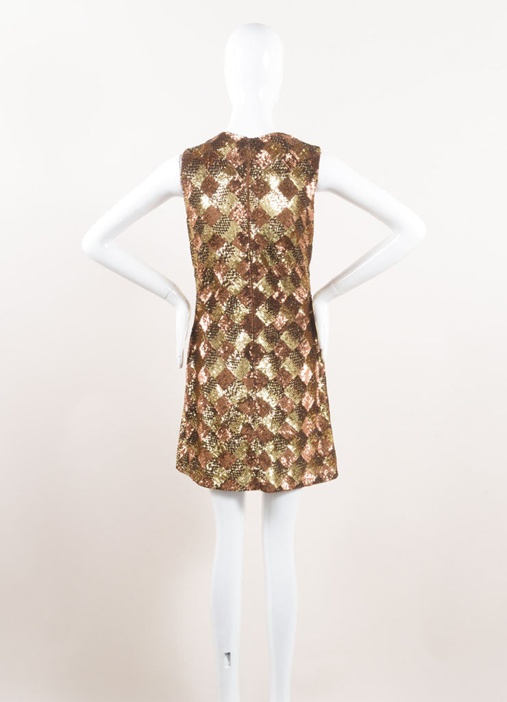 Naeem Khan Gold and Bronze Sequin Embellished and Rhinestone Bib Sleeveless Dress Backview