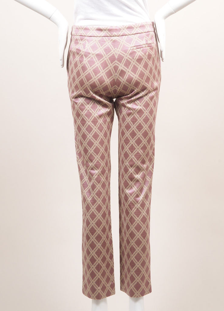 Odeeh New With Tags Purple and Metallic Gold Cotton Blend Diamond Tapered Trousers Backview