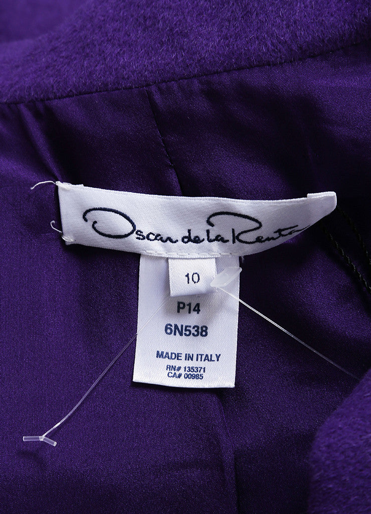 Oscar de la Renta New With Tags Purple Wool Blend Peplum Belted Moto Jacket Brand