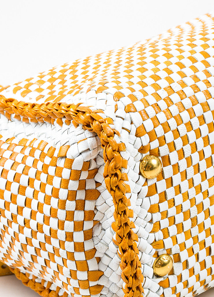 "Prada Yellow and White Leather Woven Crossbody ""Made In"" Madras Tote Bag Detail"