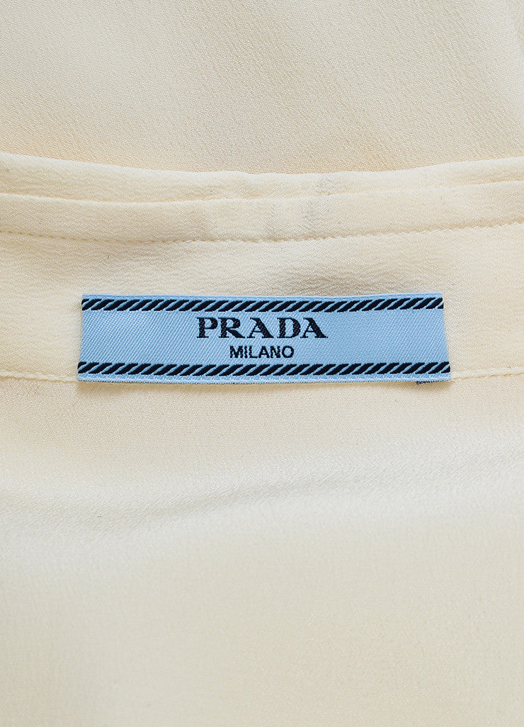Cream Prada Silk Long Sleeve Button Down Blouse Brand