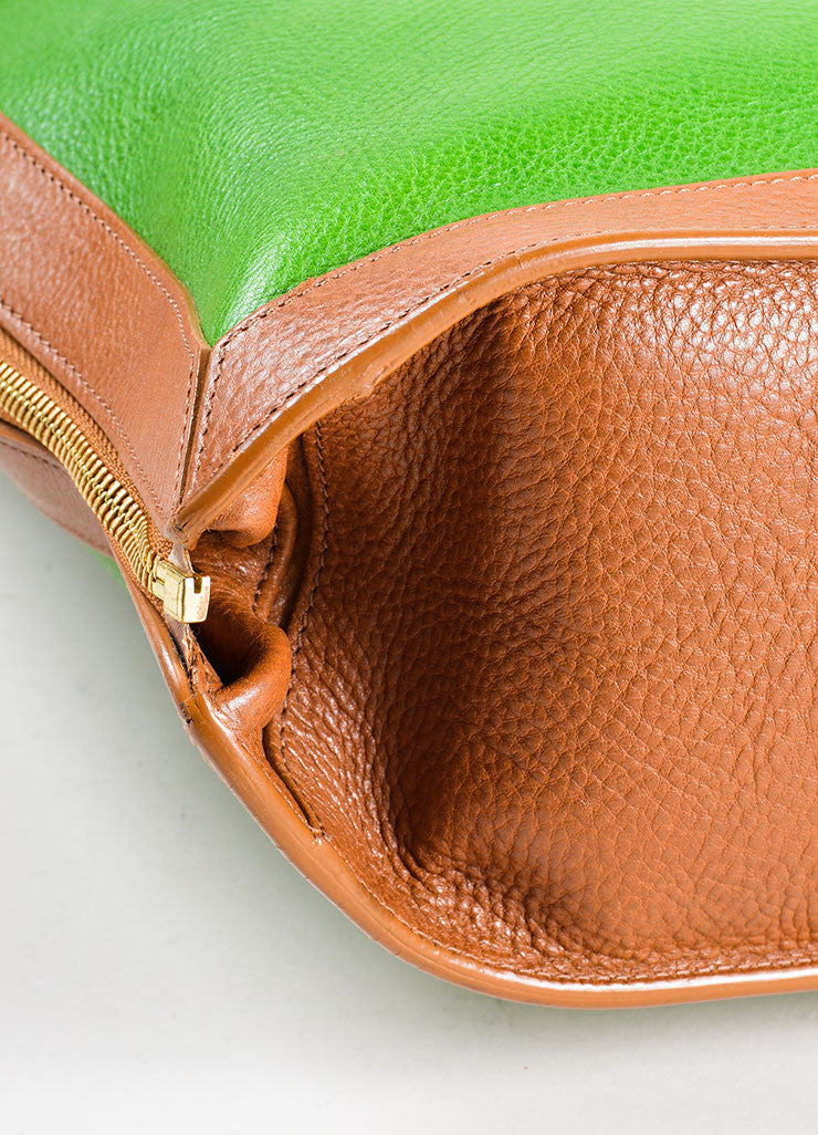 "Proenza Schouler Kelly Green, Brown, and Black Leather ""PS11"" Tote Bag Detail"