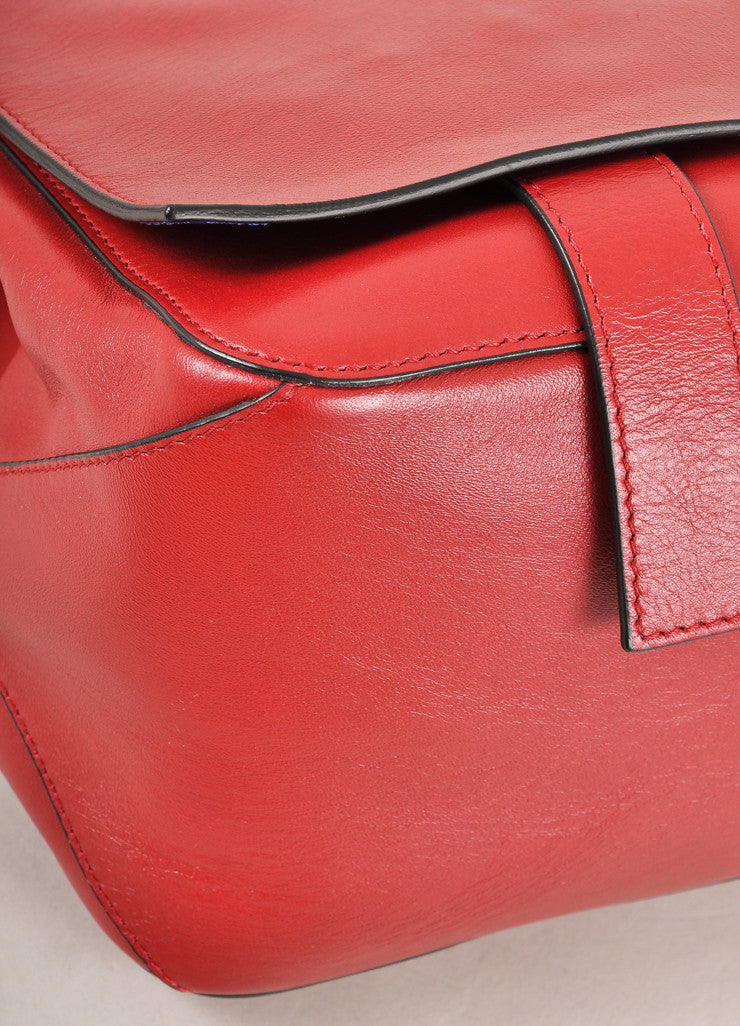 "Proenza Schouler New With Tags Red Leather Flap with Clasp ""Courier"" Shoulder Bag Detail"