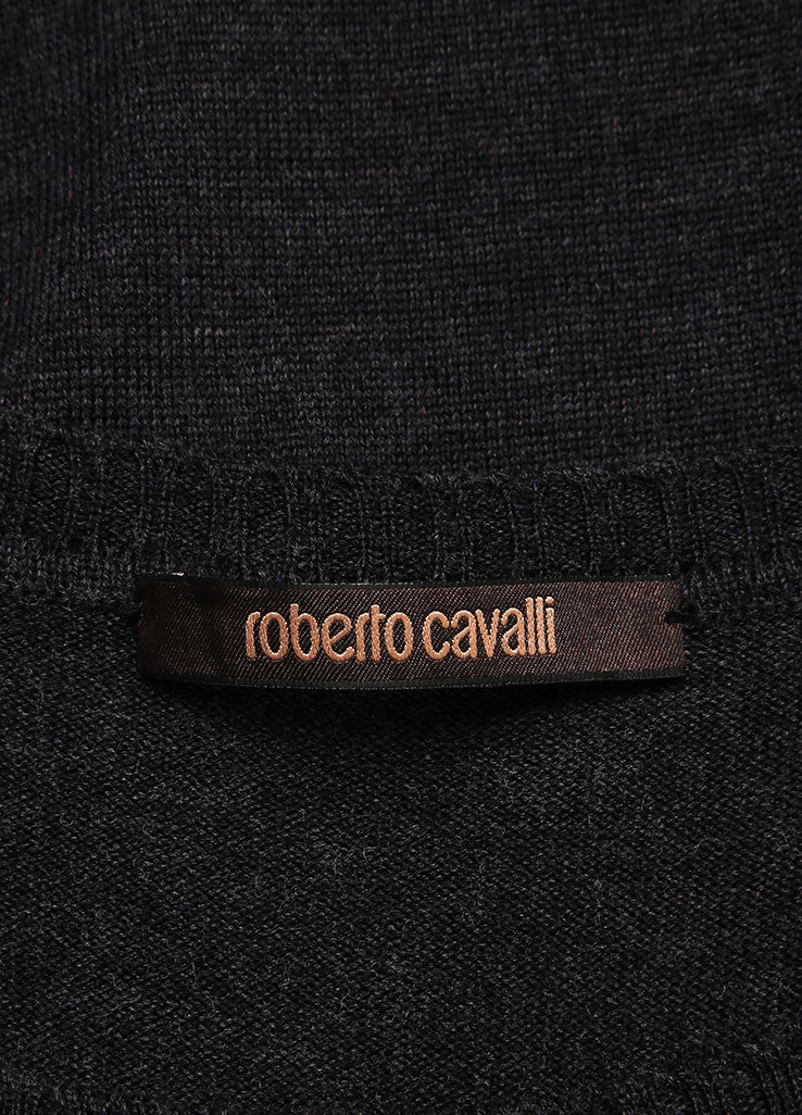 Roberto Cavalli Grey Wool Suede Leather Trim Grommet Sweater Dress Brand