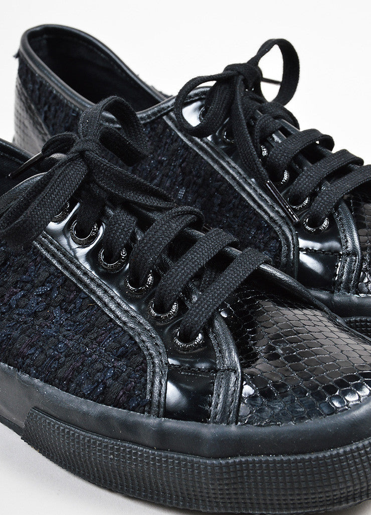 Rodarte Black Snakeskin Embossed Tennis Shoes Detail