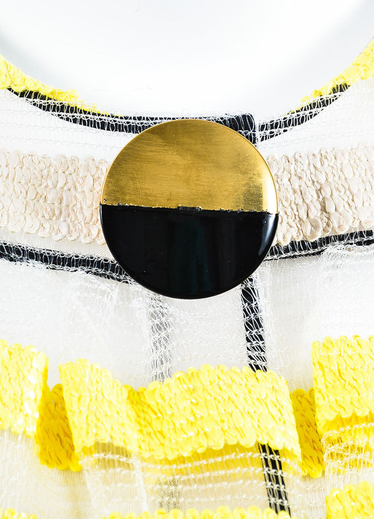 "Roksanda Beige, Yellow, and Black Woven ""Gwendolen"" Cropped Jacket Detail"
