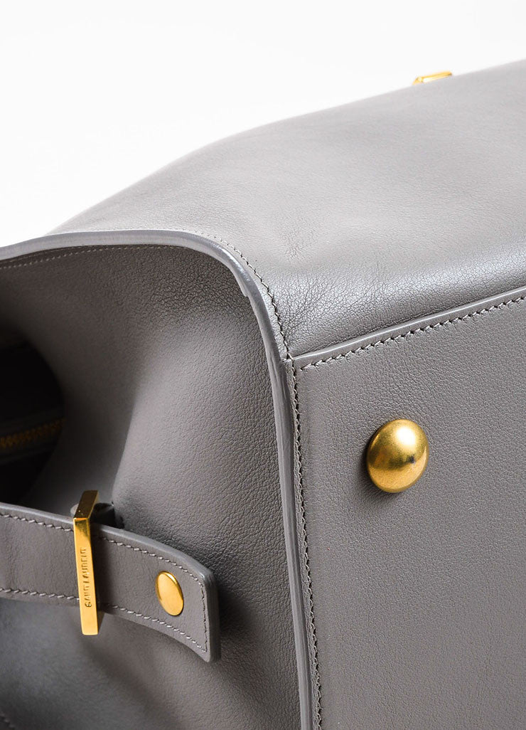 "Saint Laurent Grey Leather Gold Toned Hardware ""Medium Cabas Chyc"" Bag Detail"
