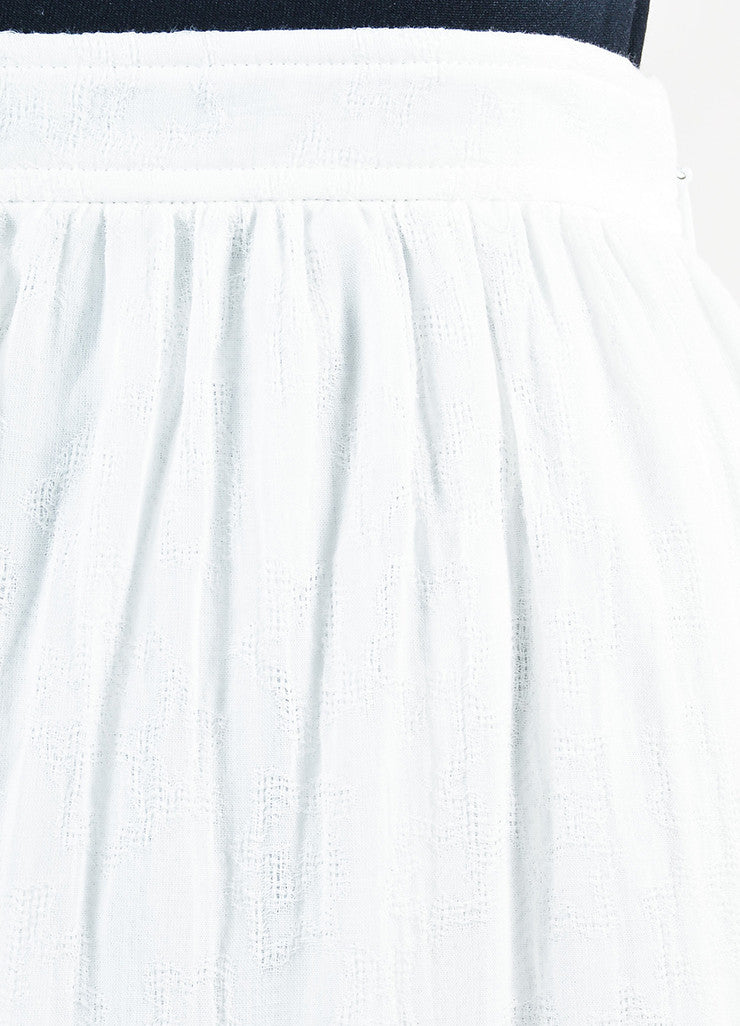 White Saint Laurent Cotton Tiered Midi Length Full Flare Skirt Detail