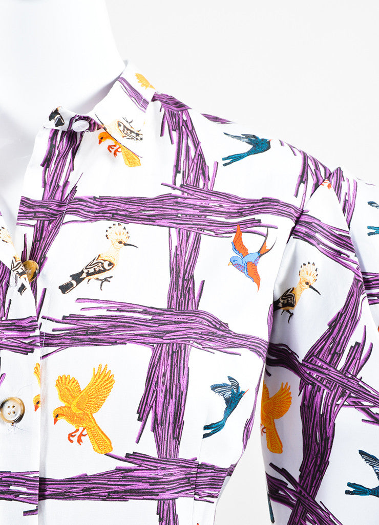 "Stella Jean White and Purple Bird ""Sommelier Chemisier"" Shirt Dress Detail"