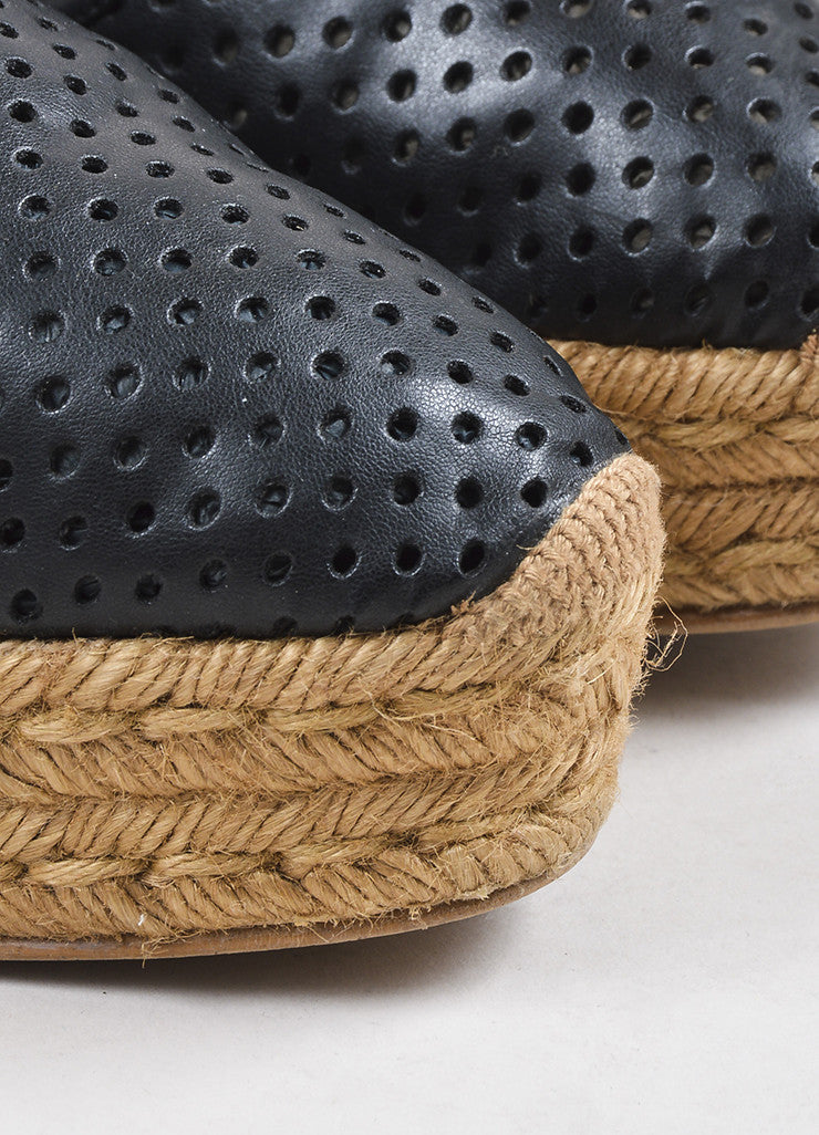 Black Stella McCartney Perforated Faux Leather Espadrille Platforms Detail