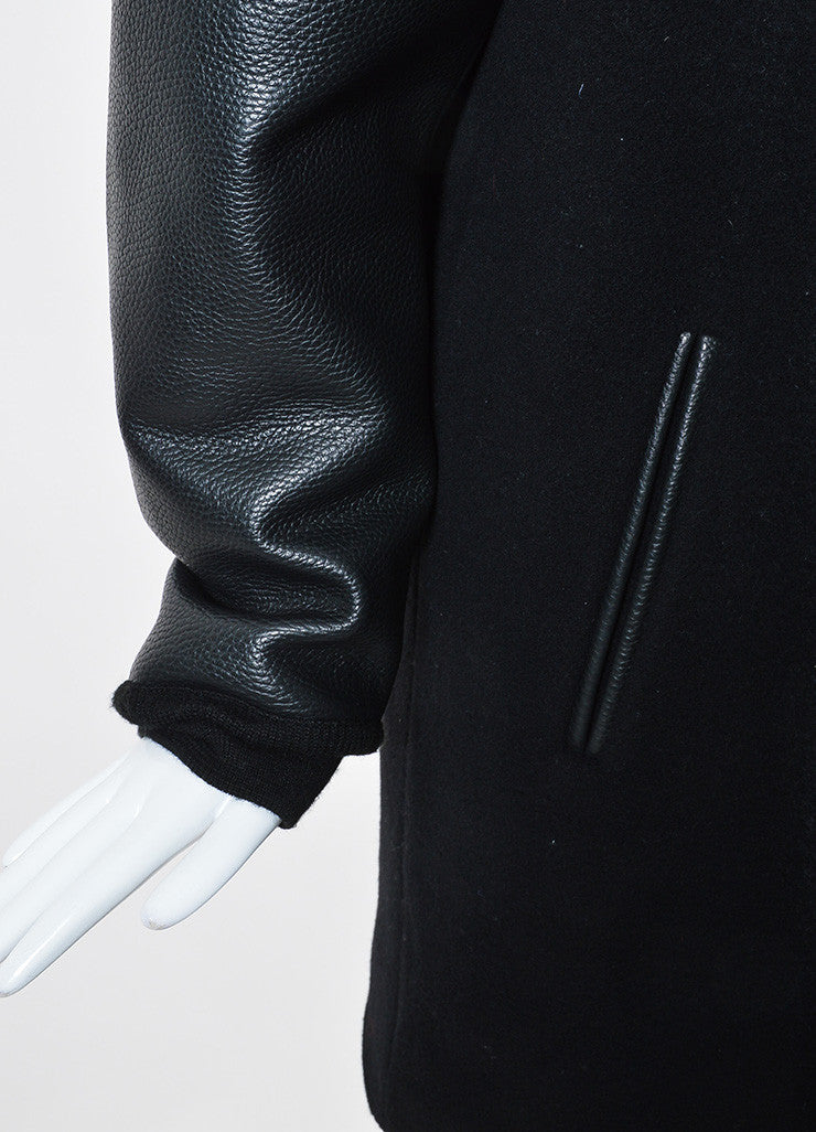 Black ‰ۢÌöÌÛT by Alexander Wang Wool and Leather Long Varsity Bomber Jacket Detail