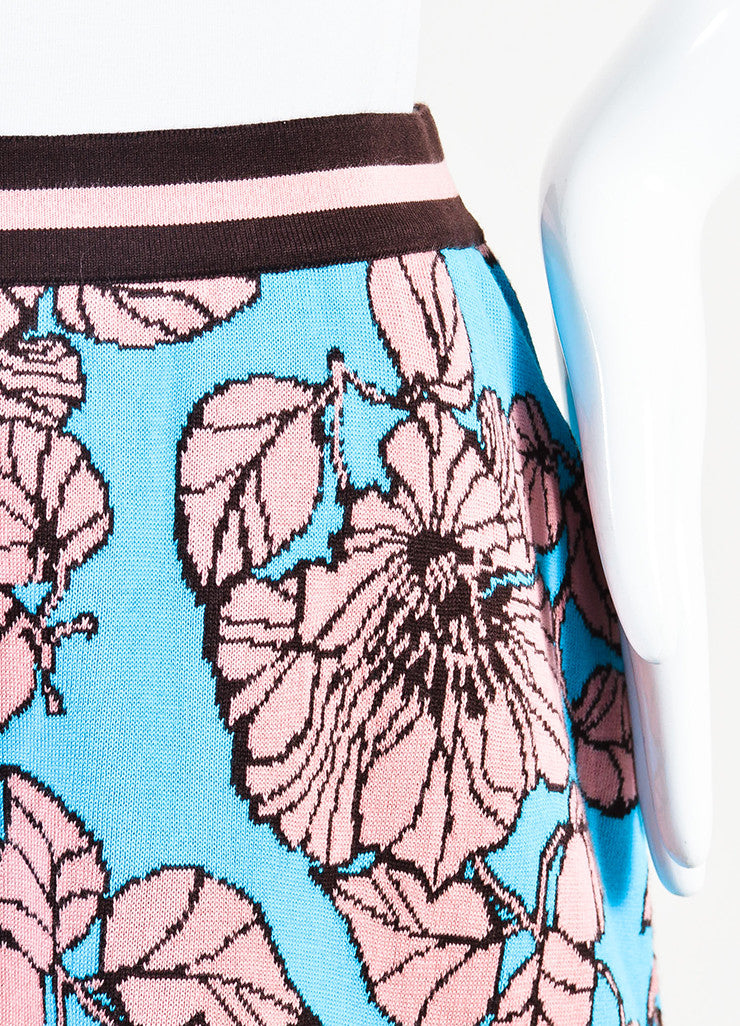 Tak Ori Blue, Pink, and Brown Knit Floral Print A Line Knee Length Skirt Detail