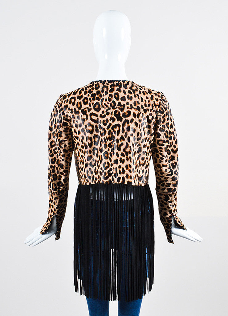 "The Perfext Tan and Black Pony Hair Leopard Fringe ""Christy"" Jacket Backview"