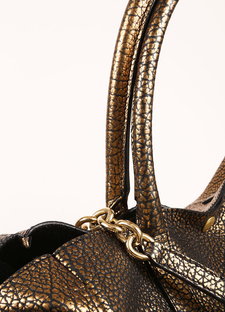 "Tiffany & Co. Gold Metallic Pebbled Leather Chain Strap ""Riley"" Tote Bag Detail 2"